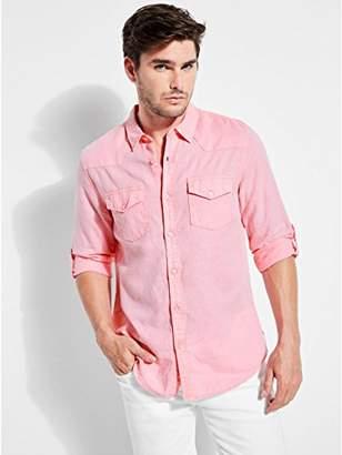GUESS Men's Long Sleeve Walker Linen Western Shirt Roll Tab