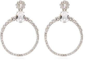 Miu Miu Crystal Embellished Hoop Clip Earrings - Womens - Crystal