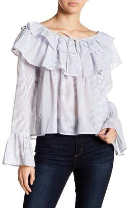 Gracia Striped Tiered Ruffle Blouse