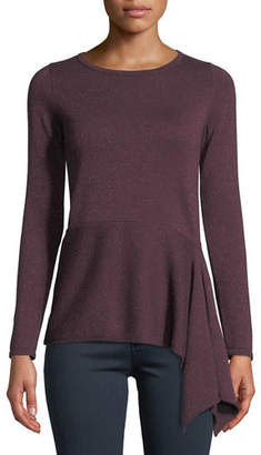 Neiman Marcus Cashmere Metallic Asymmetric Peplum Sweater