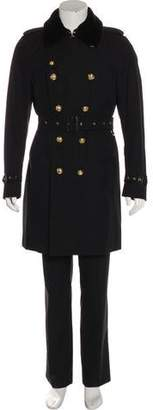 Burberry Mink-Trimmed Double-Breasted Trench Coat