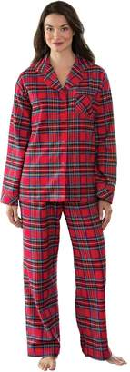 PajamaGram Women's Stewart Plaid Cotton Flannel Boyfriend Pajamas