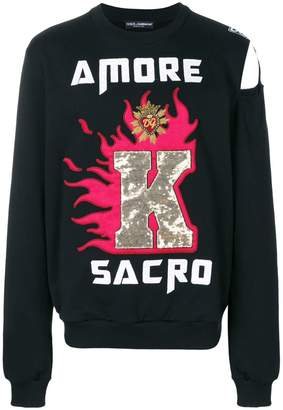 Dolce & Gabbana Kings of Hearts patch sweatshirt