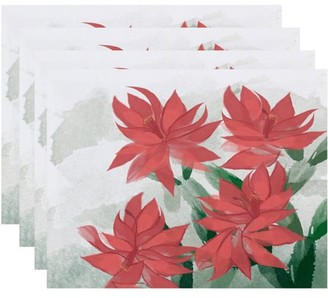 Holiday Essence Christmas Cactus Floral Print Placemat