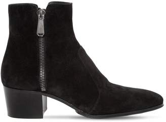 Balmain 55mm Zip Suede Ankle Boots
