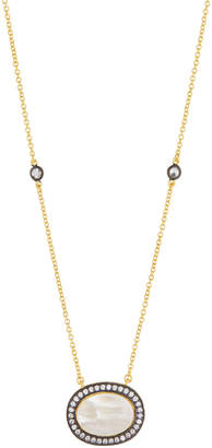 Freida Rothman Oval Pearlescent Pendant Necklace w/ CZ Crystals
