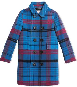 Burberry TEEN Check Wool Tailored Coat