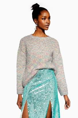 Topshop Womens Tinsel Oversized Jumper - Silver