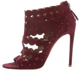 Alaia Laser Cut Suede Ankle Boots