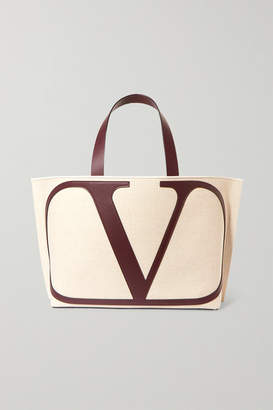 Valentino Garavani Vlogo Escape Large Leather-trimmed Canvas Tote - Beige