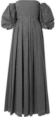Off-the-shoulder Polka-dot Cotton-poplin Gown - Black