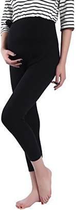 Foucome Spring Summer Maternity Capri Pants Stretch Elastic Band Adjustable Cotton Leggings for Women Black