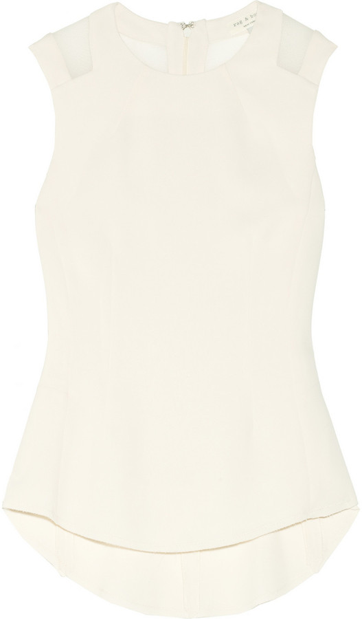 Rag and Bone Rag & bone Ruby mesh-paneled crepe top