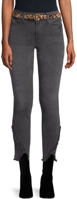 Frame Le High Frayed Triangle Hem Skinny Jeans