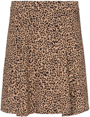 Reformation Flounce leopard print mini skirt