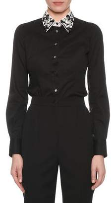Dolce & Gabbana Long-Sleeve Button-Front Cotton Poplin Blouse w/ Embellished Collar