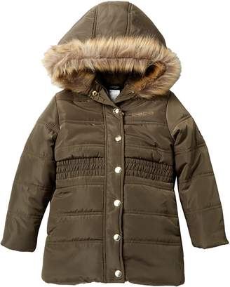 Bebe Long Puffer Coat with Faux Fur (Toddler & Little Girls)