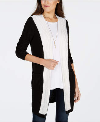 Style&Co. Style & Co Colorblocked Cable-Knit Cardigan
