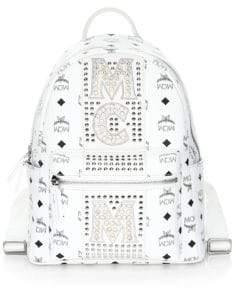 MCM Stark Stud Stripe Coated Canvas Backpack