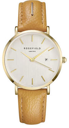 HBC ROSEFIELD September Issue Goldtone Stainless Steel Leather Strap Watch