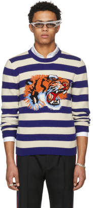 Gucci Blue and Beige Striped Loved Tiger Sweater