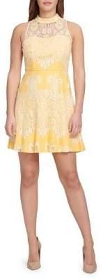 Kensie Mock Neck Floral Fit-&-Flare Dress