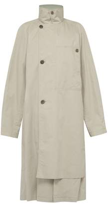 Lemaire Double Breasted Cotton Trench Coat - Mens - Grey