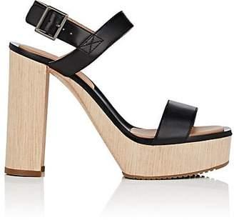 Calvin Klein WOMEN'S FAUNA BIS LEATHER PLATFORM SANDALS - BLACK SIZE 10
