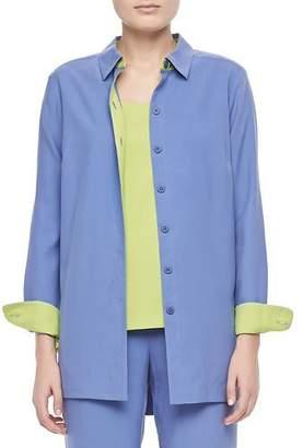 Go Silk Colorblocked Silk Shirt, Plus Size