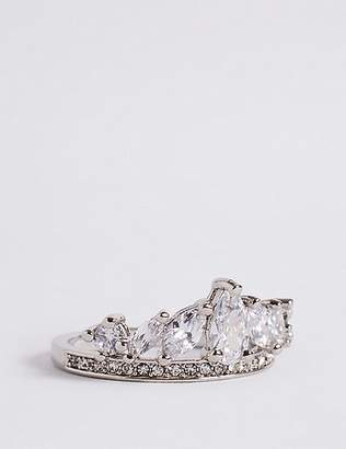 Marks and Spencer Platinum Plated Diamanté Crown Ring