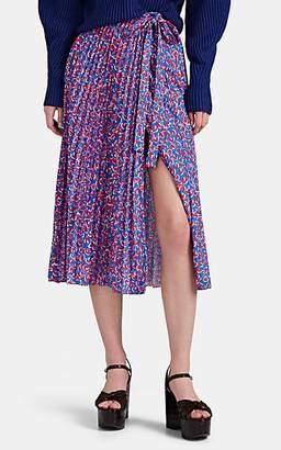 Barneys New York Women's Pleated Heart-Print Wrap Skirt - Blue