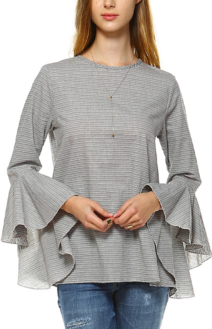 Navy & White Stripe Tiered Ruffle-Sleeve Top