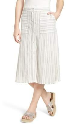 BP Stripe Linen Blend Midi Skirt