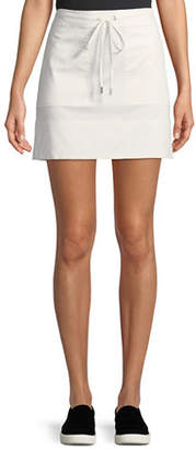 Theory Drawstring Stitched-Pocket Twill Mini Skirt
