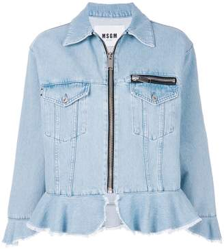MSGM zip-up denim jacket with frill trims