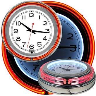 Trademark Art Retro Neon Wall Clock - Battery Operated Wall Clock Vintage Bar Garage Kitchen Game Room 14 Inch Round Analog by Lavish Home (Orange and White
