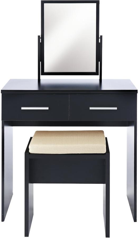 Prague High Gloss Dressing Table Stool And Mirror Set NIWIBI - Black gloss dressing table