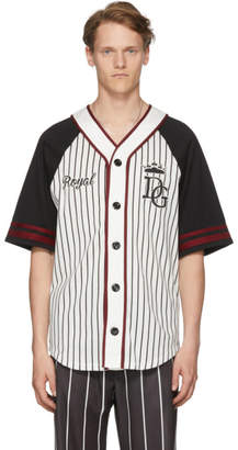 Dolce & Gabbana Black & White Striped Baseball Shirt