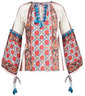 D'Ascoli Samarkand Floral Print Cotton Blouse - Womens - Red Multi