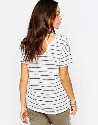 Esprit Cut Out Stripe Tee $31 thestylecure.com