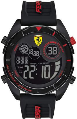 Ferrari Men's Forza Analog-Digital Black Silicone Strap Watch 45mm