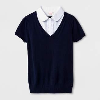 Cat & Jack Girls' Short Sleeve Uniform Pullover Sweater Navy/White