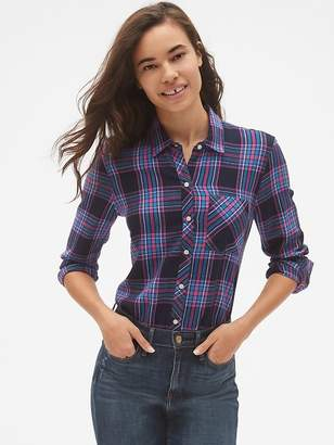 Gap Drapey Plaid Flannel Pocket Shirt