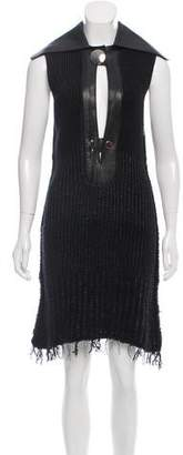 Calvin Klein Collection Leather-Accented Sweater Dress w/ Tags
