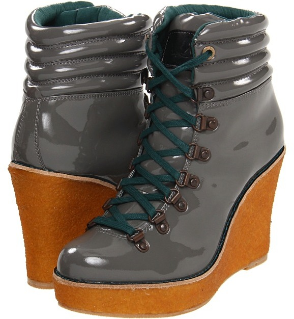 Philip Simon Hiker Heel (Grey Patent Leather) - Footwear