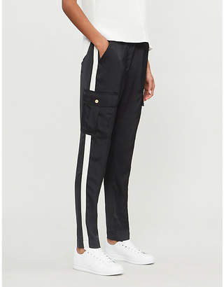 E.m. ME AND Grosgrain-striped high-rise tapered woven trousers