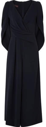 Talbot Runhof Cape-effect Cady Jumpsuit - Midnight blue