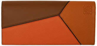 Loewe Brown and Orange Puzzle Long Wallet