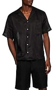 HECHO Men's Thread-Braided Slub Linen Shirt - Black