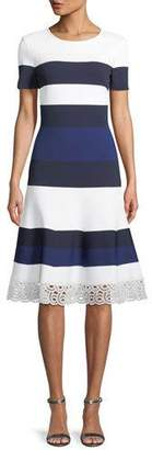 St. John Striped Luxe Sculpture Knit Lace-Trim Dress
